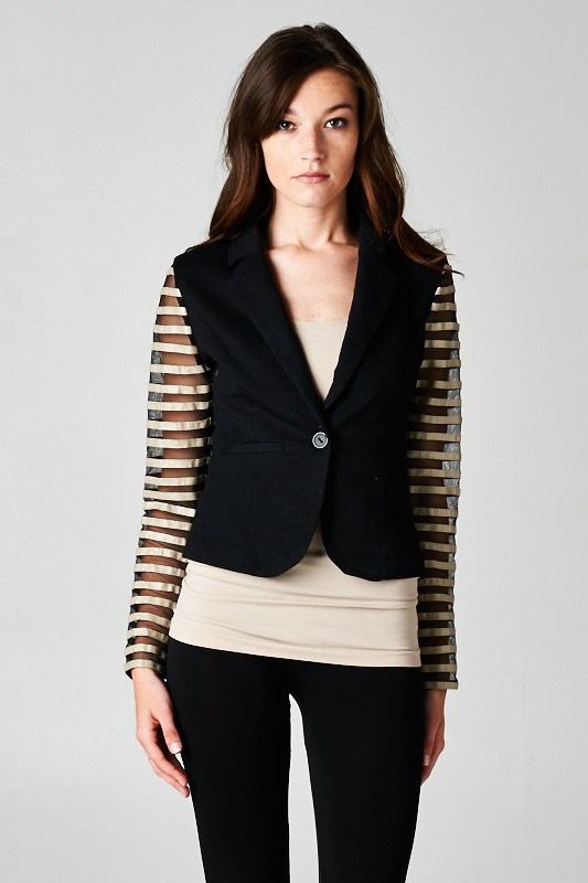 Sheer Striped Sleeve Blazer