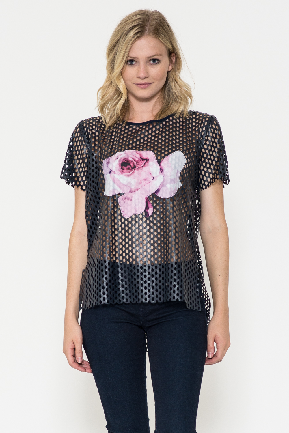 Perforated Rose Print Top