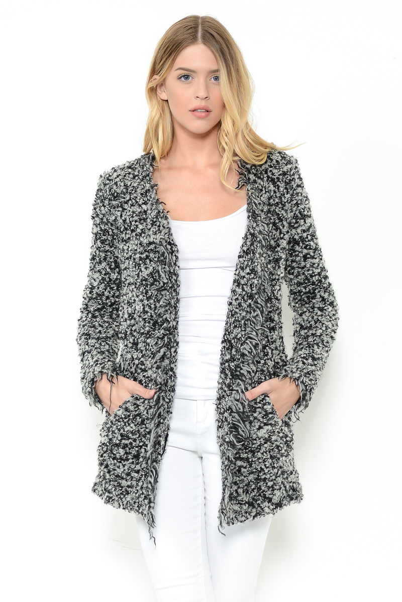Fur Drape Front Jacket