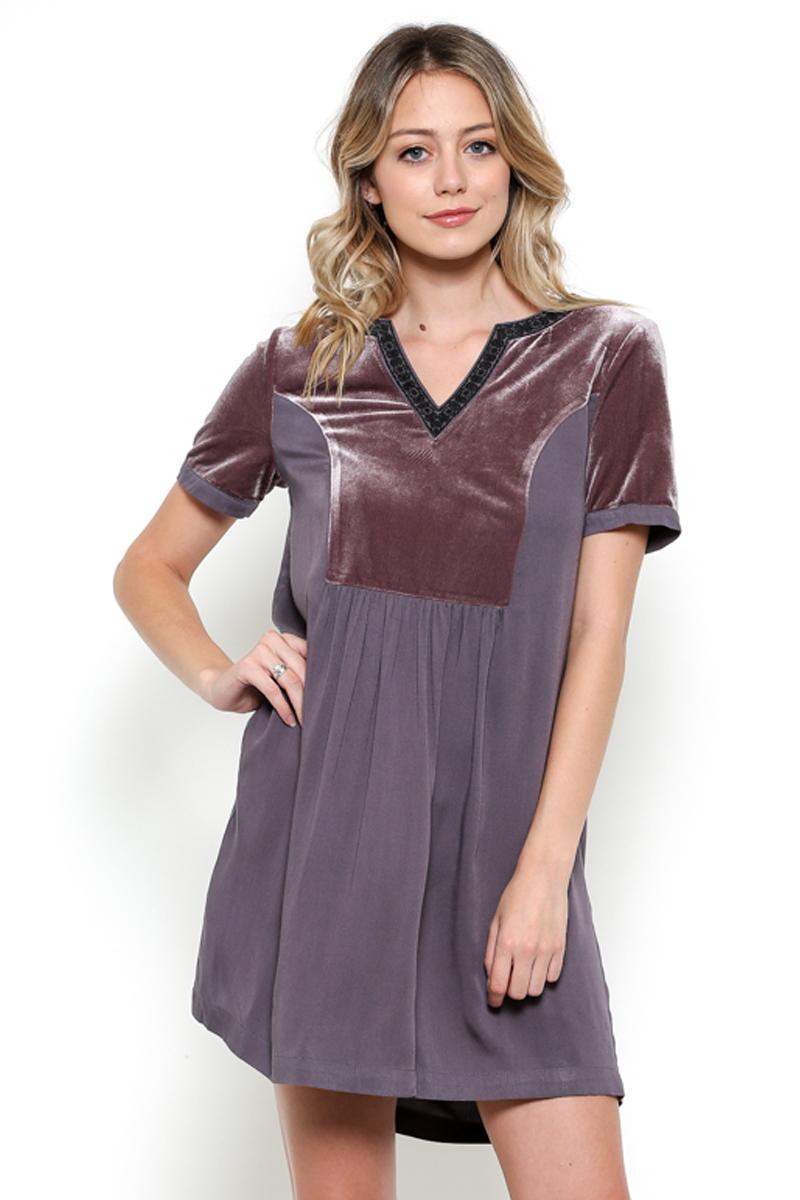 Velvet Short Sleeve Dress