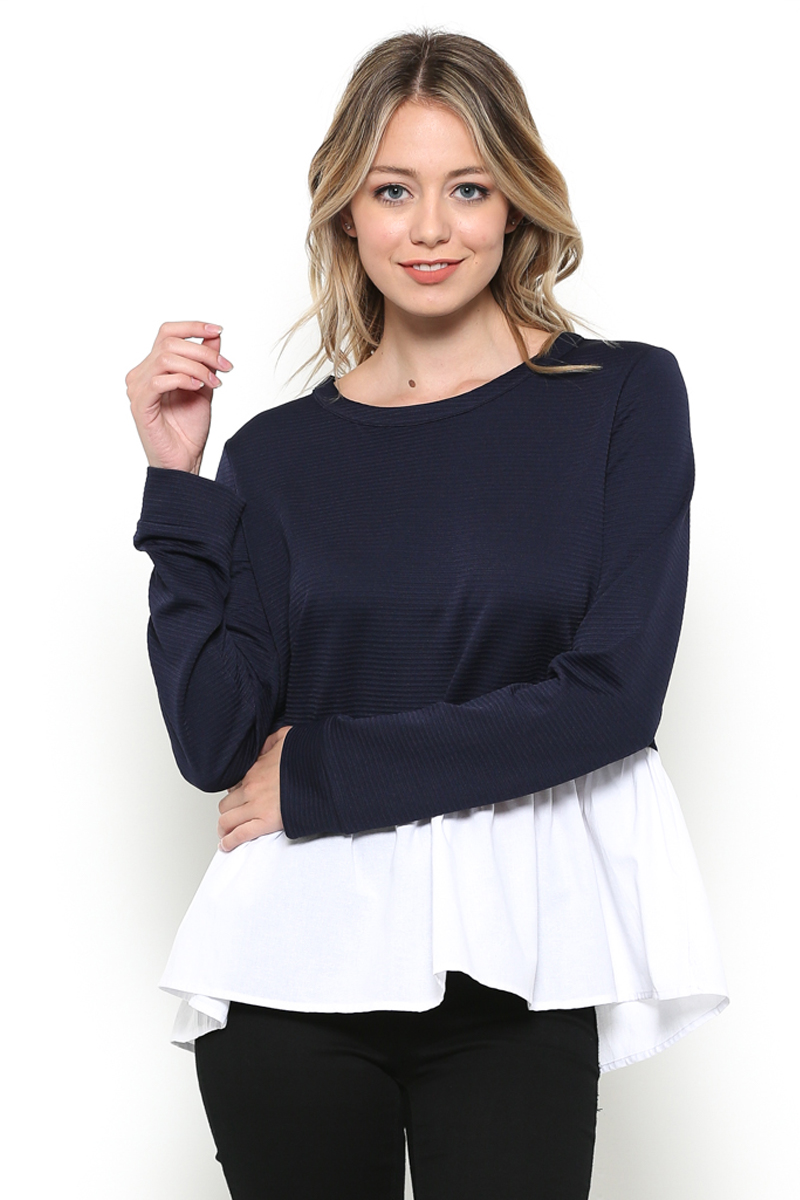 Knit Contrast Peplum Top