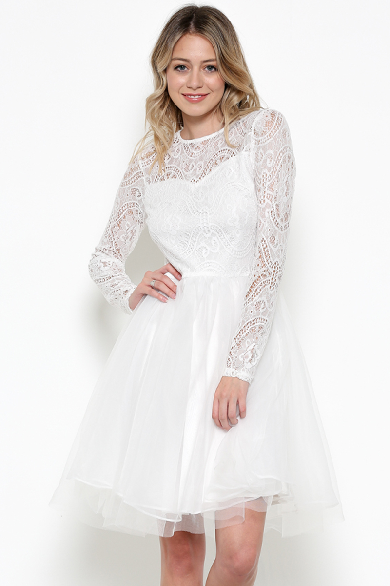 Lace Long Sleeve Tulle Dress