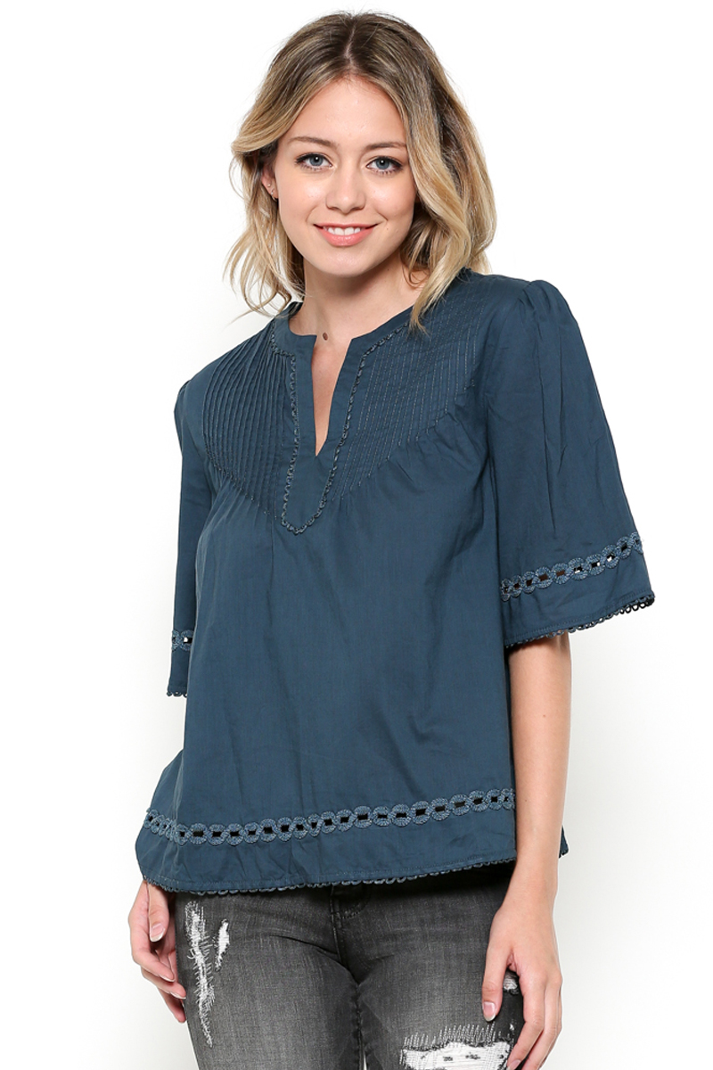 Short Sleeve Embroidered Top