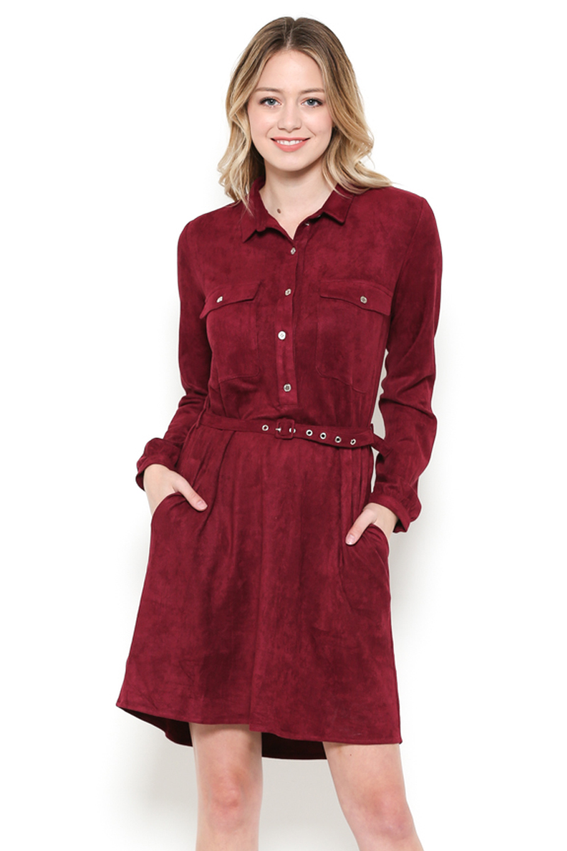 Long Sleeve Faux Suede Dress