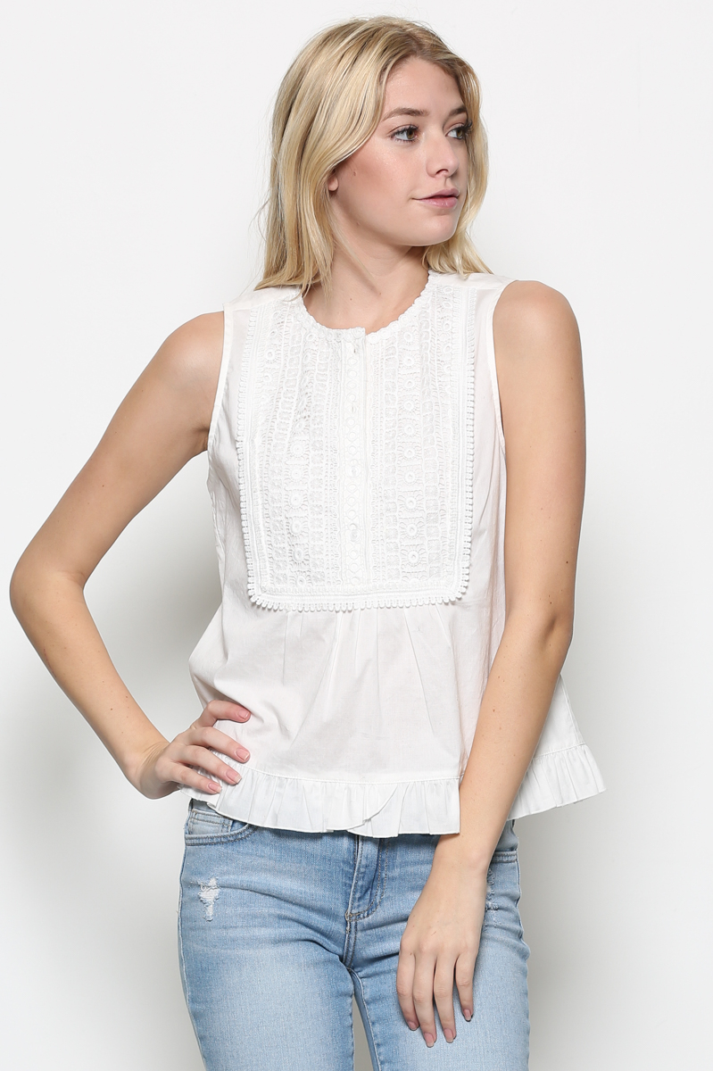 Eyelet Contrast Top