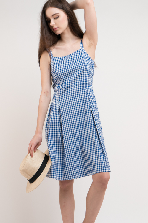 Check Square Neck Midi Dress
