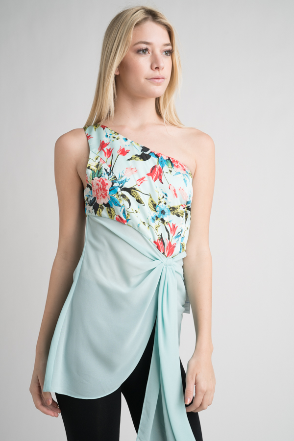 ONE SHOULDER CONTRAST DRAPE TOP