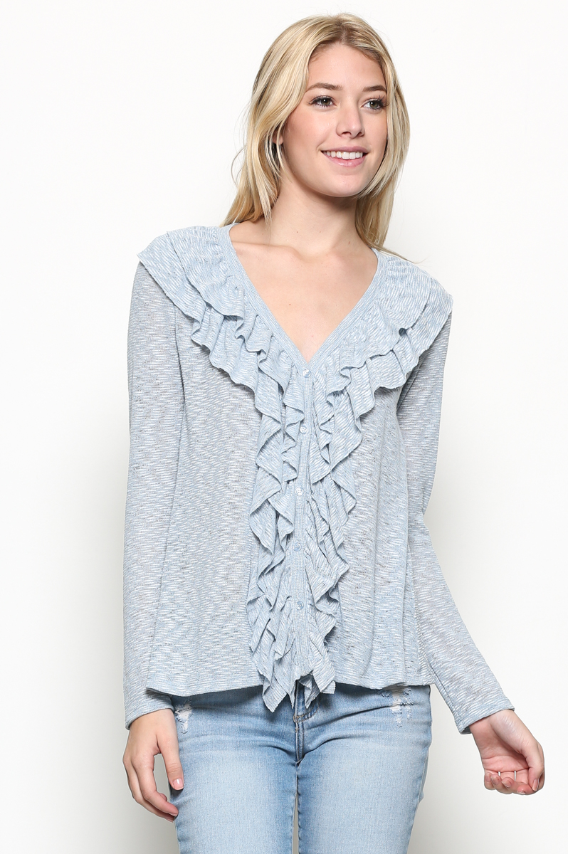 Ruffle V-Neck Cardigan