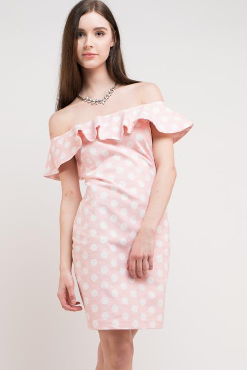 Polka Dot Off Shoulder Dress