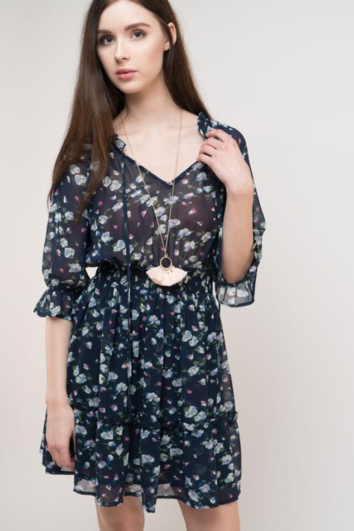 Floral Smock Waist Dress