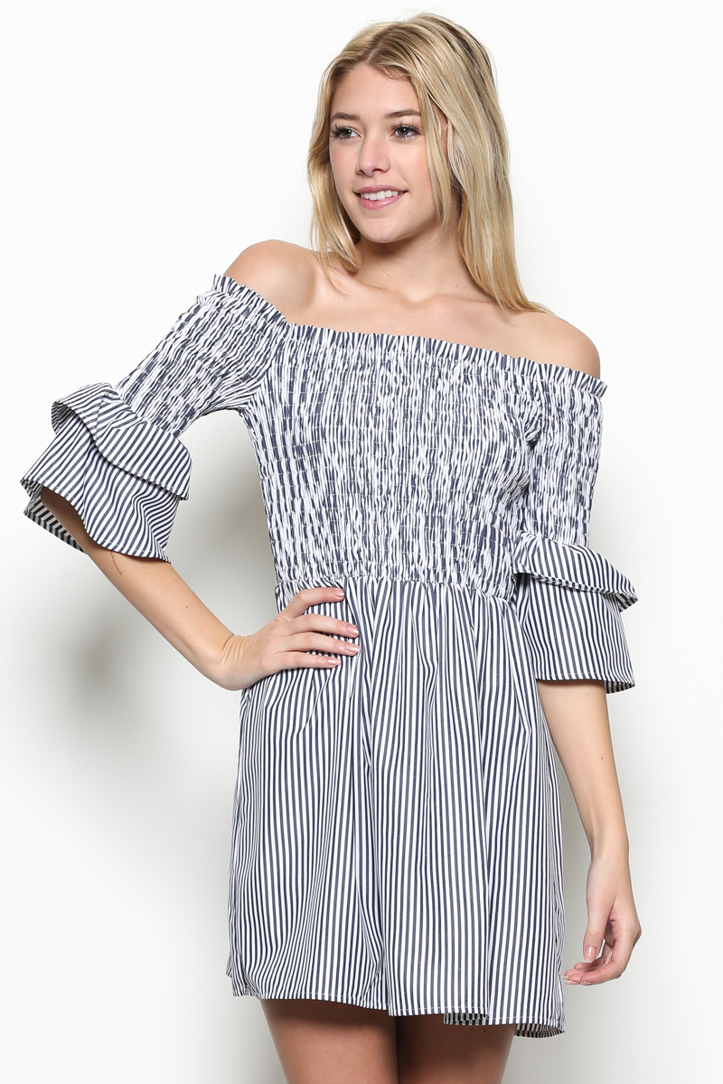 Striped Bell Sleeve Off Shoulder Dress