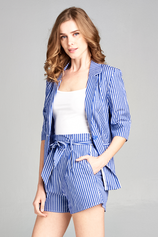 Three quarter sleeve pinstripe blazer
