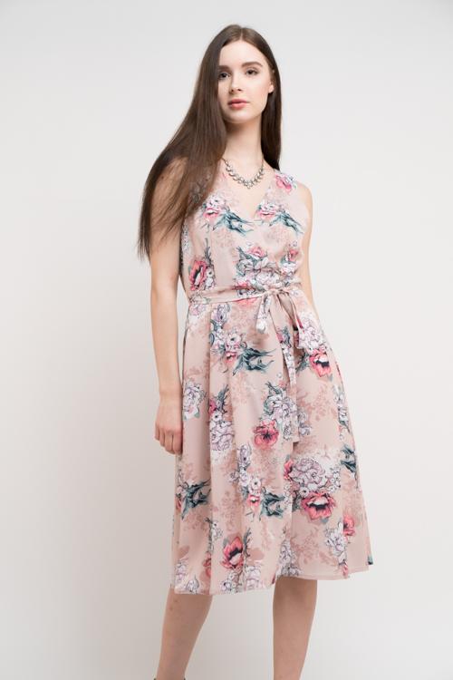 SELF BELT PRINT DRESS