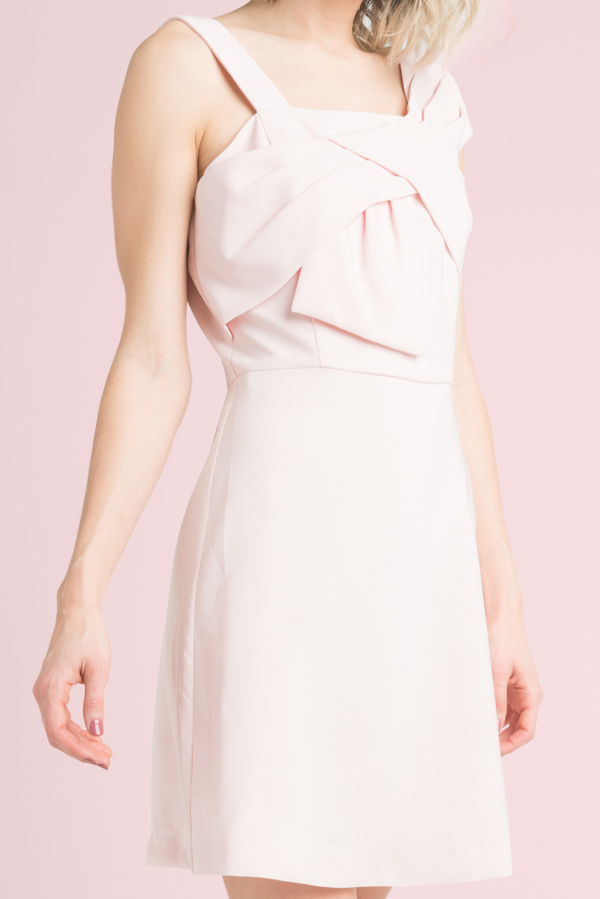 Solid Dress with Bow Light Pink or White