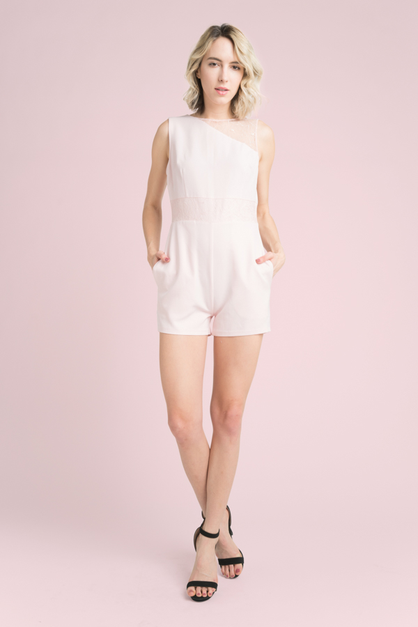 ONE SHOULDER MESH SLEEVELESS ROMPER