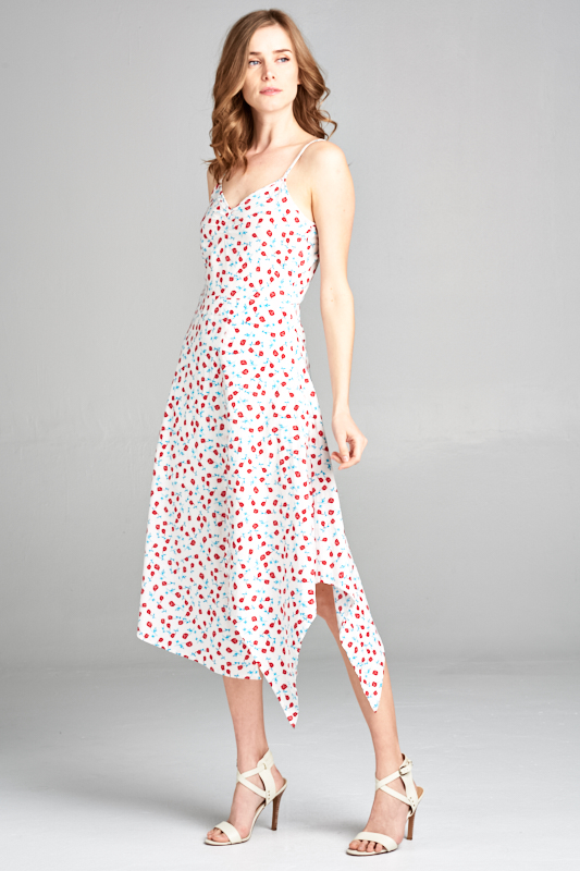 SPAGHETTI STRAP FLOWER PRINT MIDI DRESS