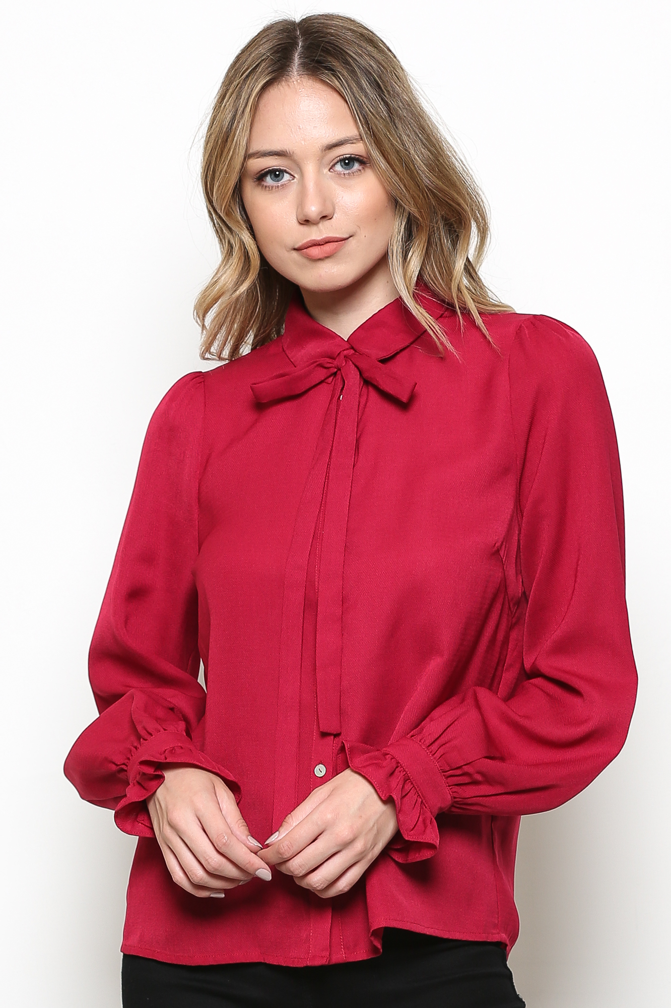 Button Up Blouse With Front Tie