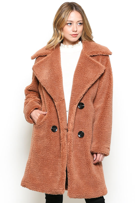 Faux Fur Double Breasted Strench Coat