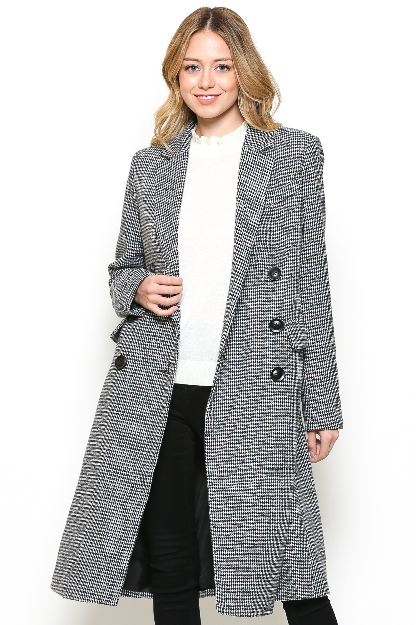Houndstooth Double Breasted Trench Coat