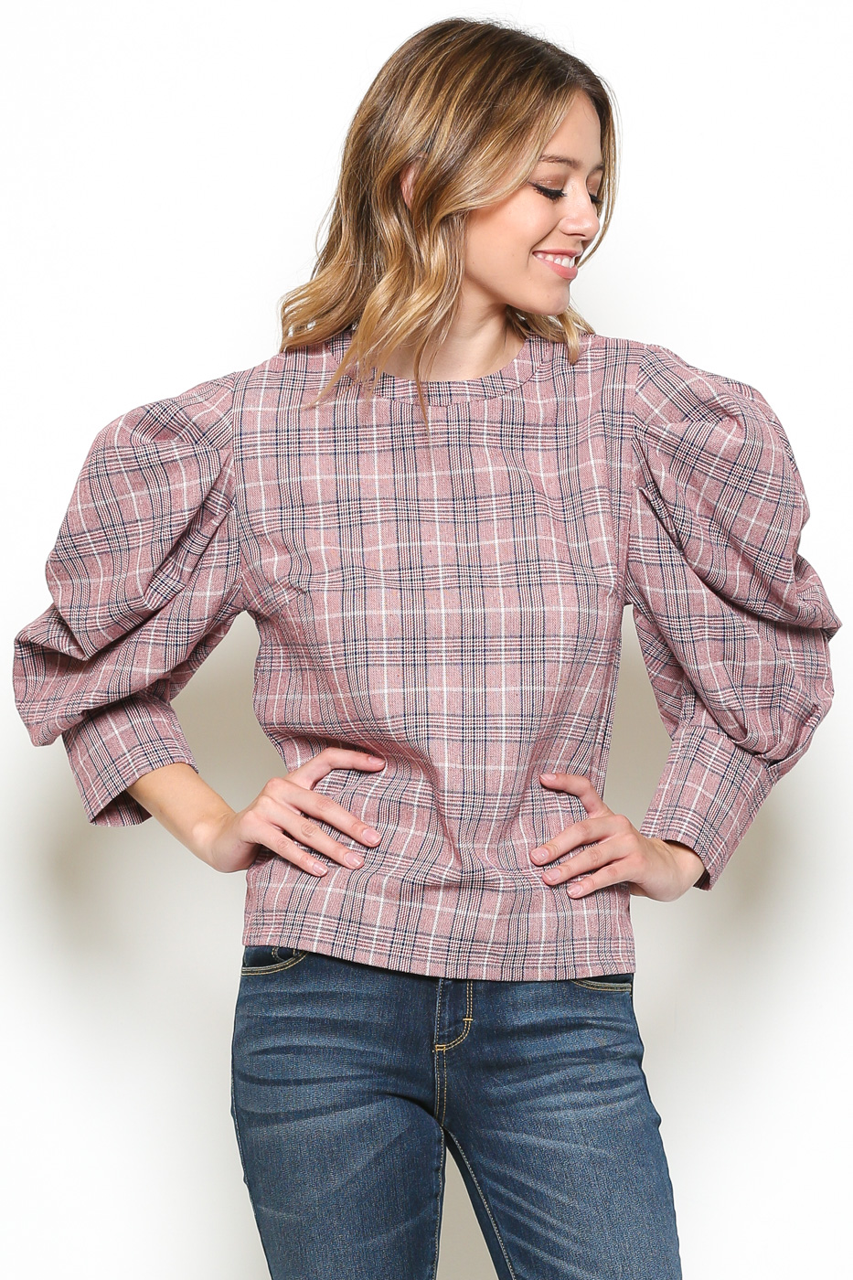 Plaid Blouse With Puff Sleeve