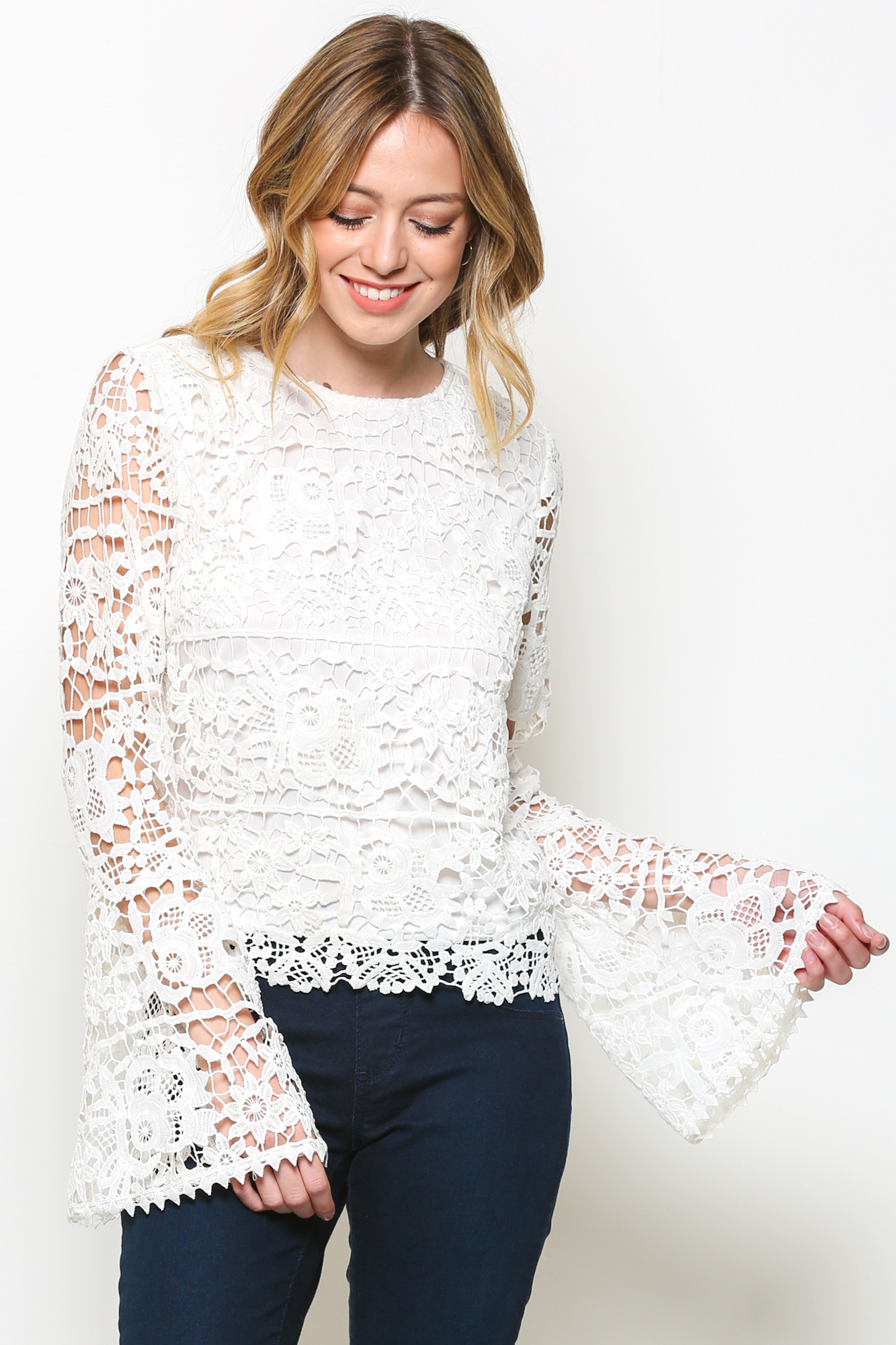 Lace fabric, flared sleeve,back button closure with keyhole