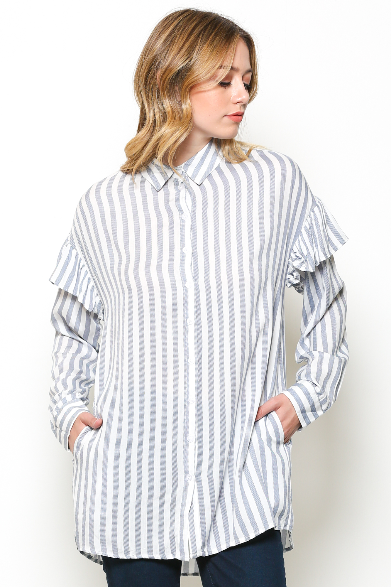Striped long-sleeve button top