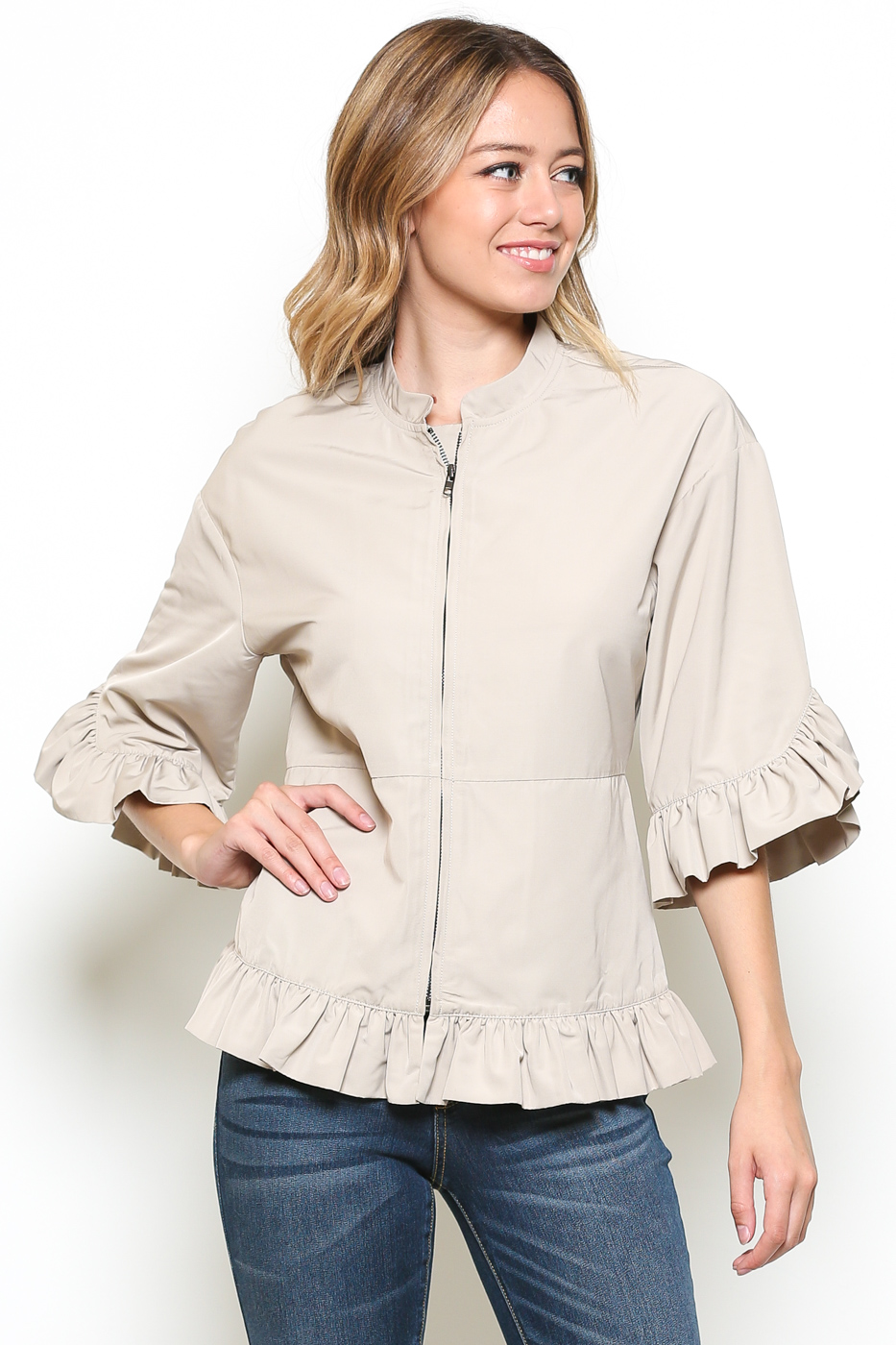 3/4 SLEEVE RUFFLED JACKET