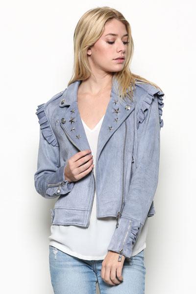 Suede Embellished Moto Jacket