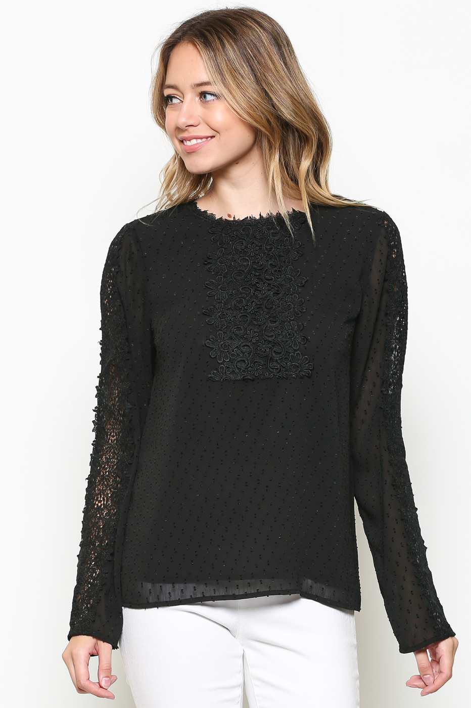 SLEEVE LACE TRIM BLOUSE