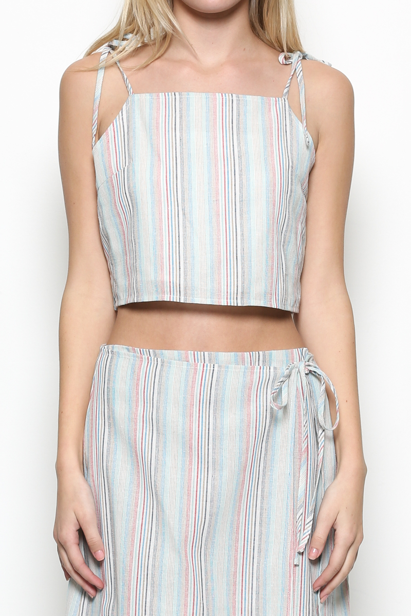 Tie Striped Crop Top