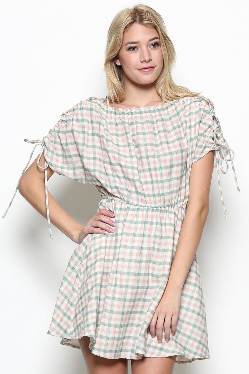 Plaid Lace Up Dress