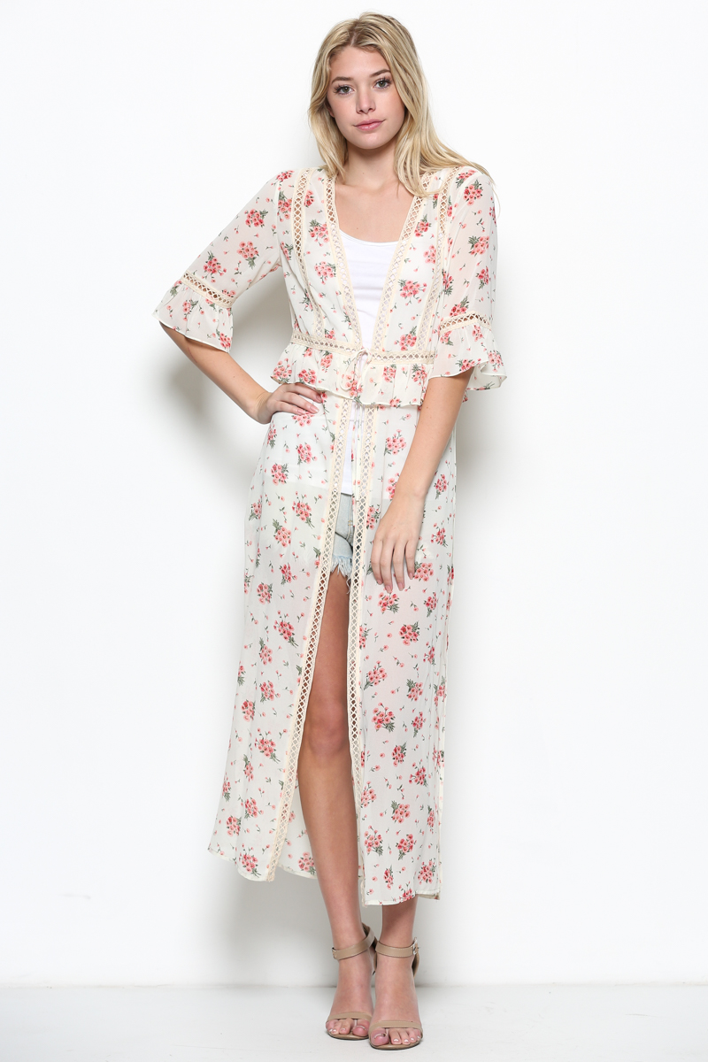 Floral Crochet Duster